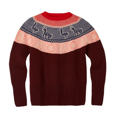 Frida Yoke Sweater - Burgundy - Donna Wilson