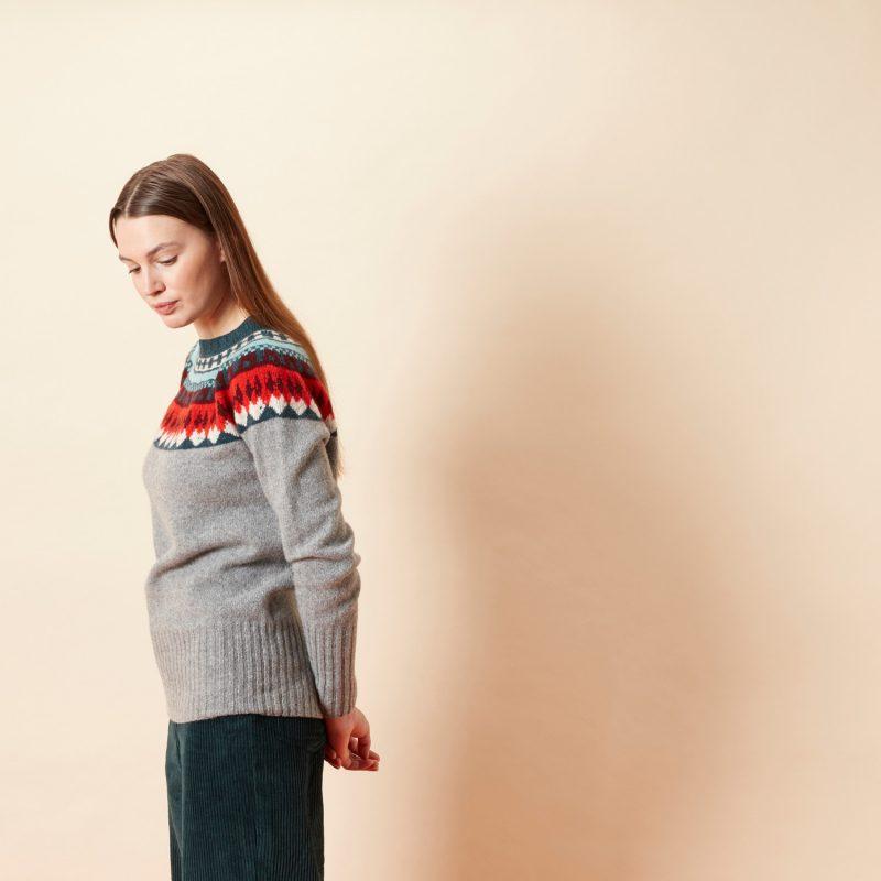 Helga Yoke Sweater - Grey - Donna Wilson