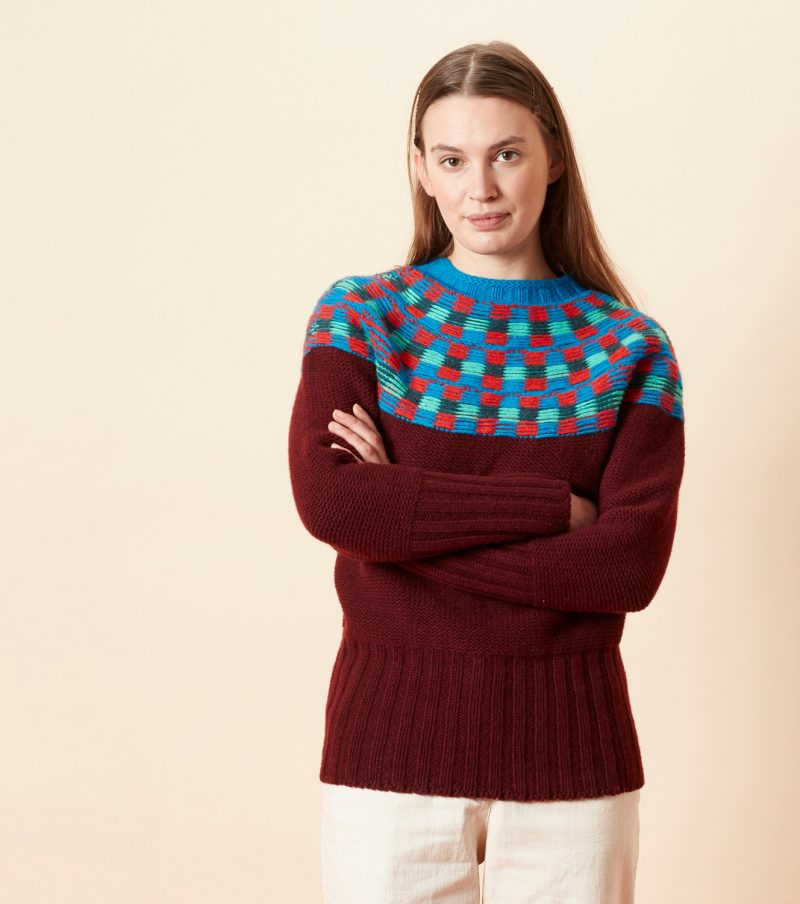 Isla Yoke Sweater - Burgundy - Donna Wilson
