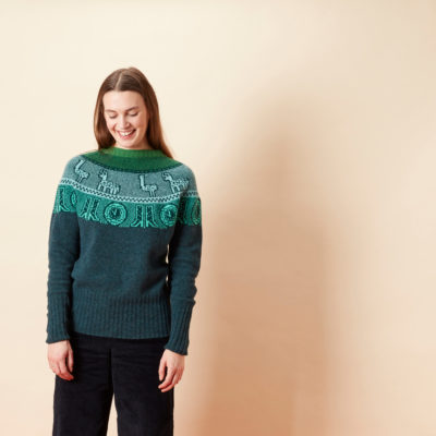 Frida Yoke Lambswool Sweater - Dark Green - Donna Wilson