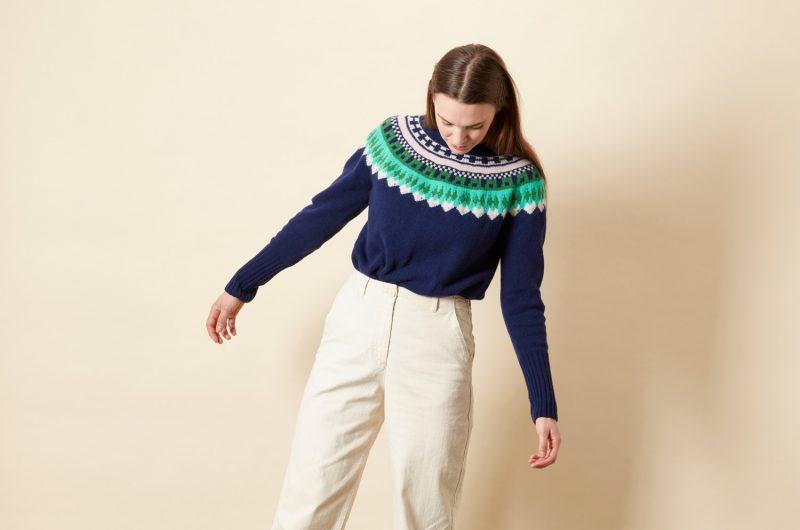 Helga Yoke Sweater - Navy - Donna Wilson