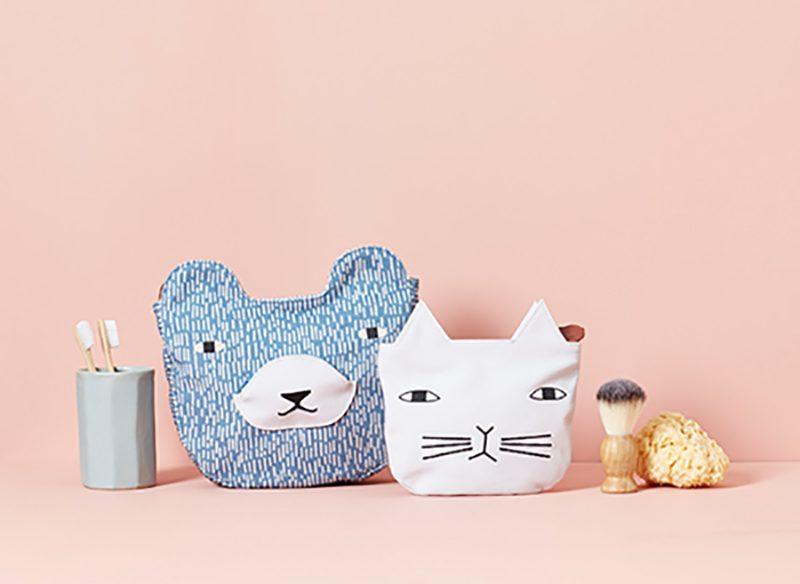 Bear Wash Bag + Cat Cosmetic Bag - Donna Wilson