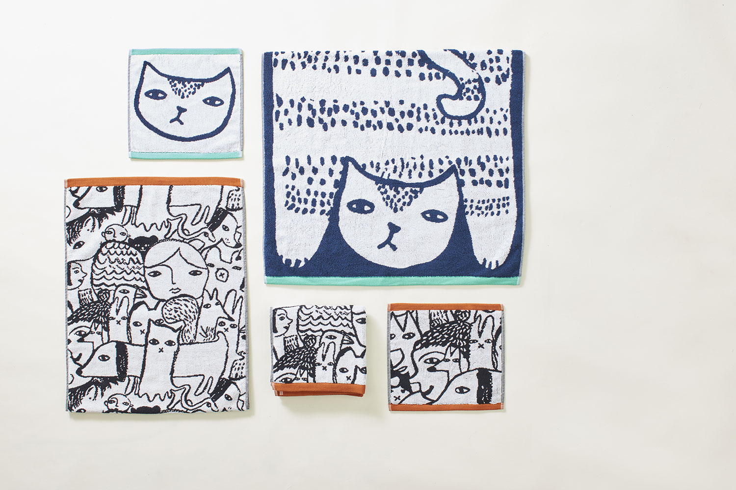 Cat and Folk Towels - Donna Wilson