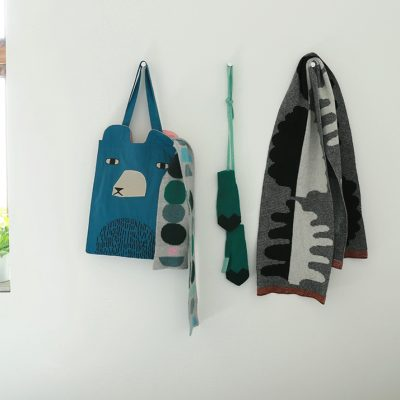 Ted Tote Bag, Cairn Scarf, Zig Zag Mitts and Fern Scarf - Donna Wilson