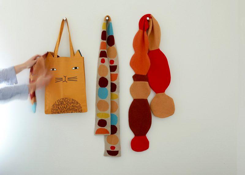 Mog Tote Bag, Cairn Skinny Scarf + Pebble Skinny Scarf - Donna Wilson