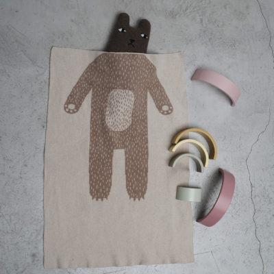 AW21 - Bear Mini Blanket - Oatmeal - Donna Wilson
