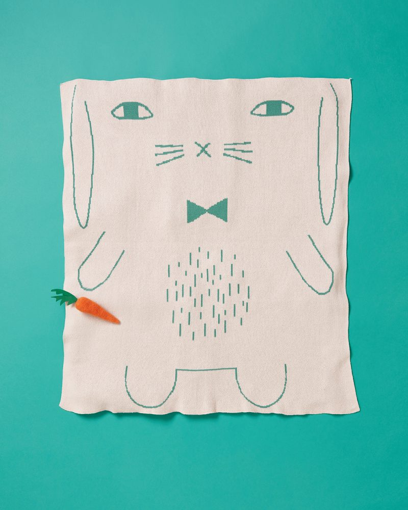 Bunny Pink Cotton Mini Blanket Donna Wilson