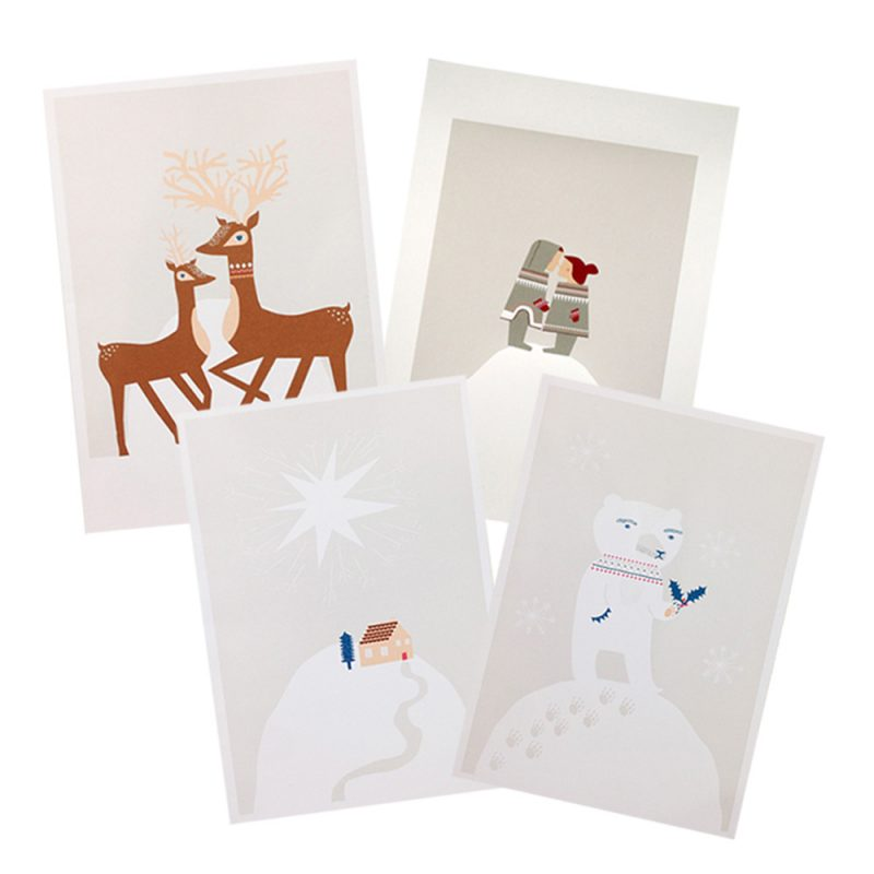 Festive Greeting Cards - Pack of 4