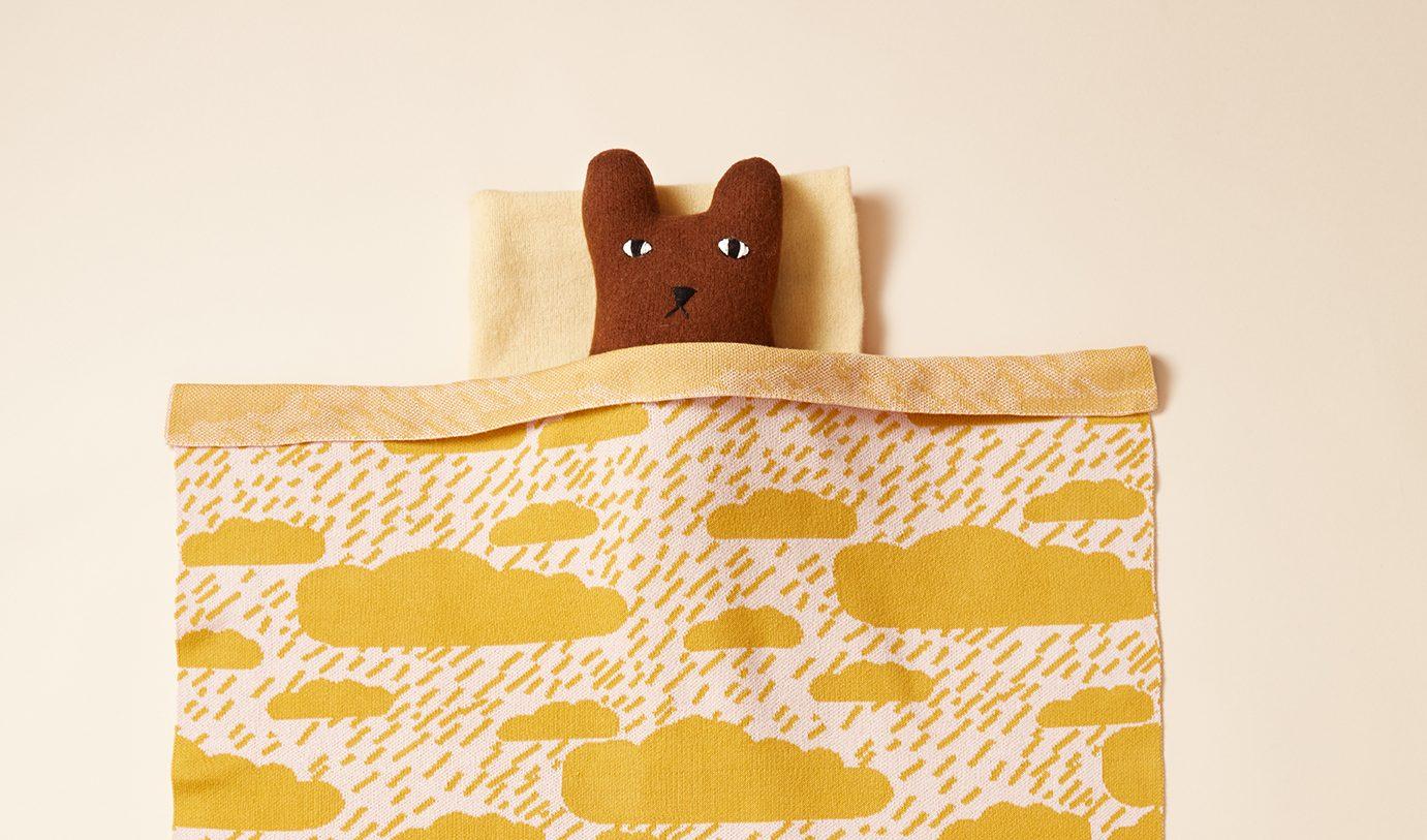 Clouds Mustard Cotton Mini Blanket Donna Wilson