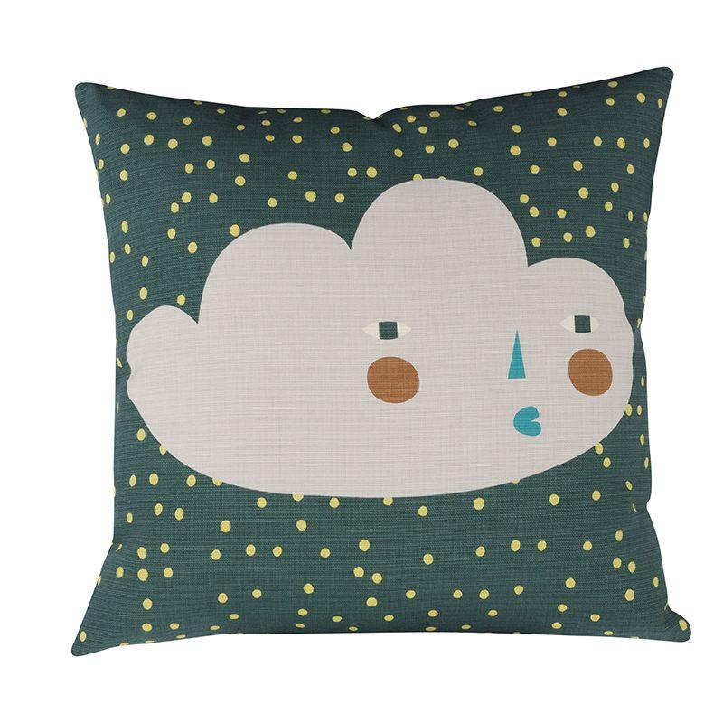 Donna Wilson Cloudy Face Cushion Dark Green