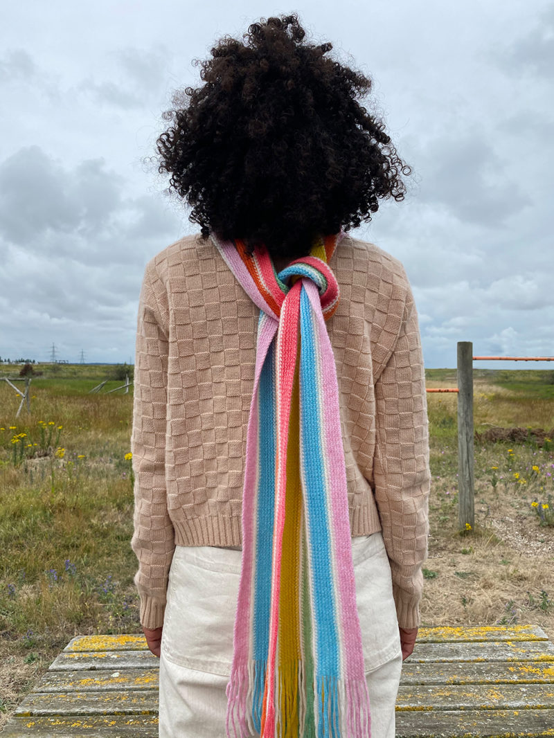 Donna Wilson AW20 - Basket Weave Sweater + Rainbow Scarf