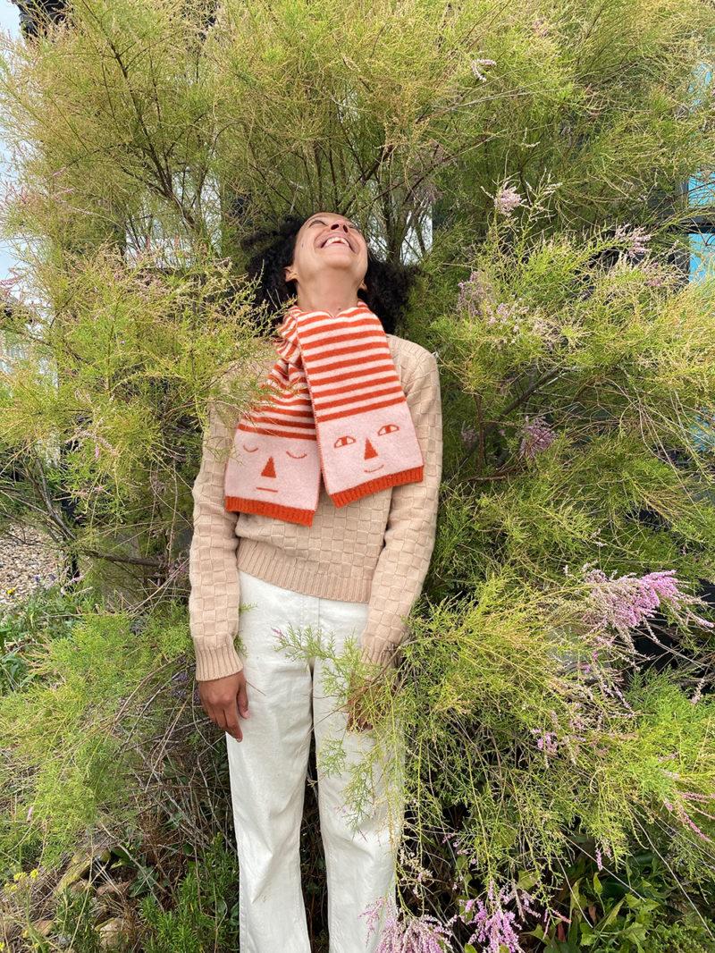 Donna Wilson AW20 - Basket Weave Sweater + Stripy Head Scarf
