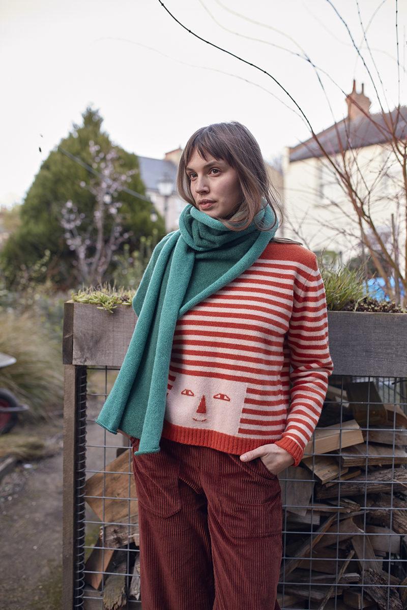 Donna Wilson AW20 - Stripy Head Sweater - Pink & Rust