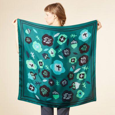 Donna Wilson - Flower Silk Scarf - Turquoise