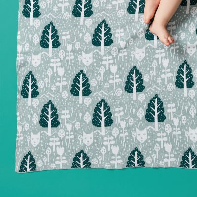 Fox in the Woods Duck Egg Cotton Mini Blanket Donna Wilson
