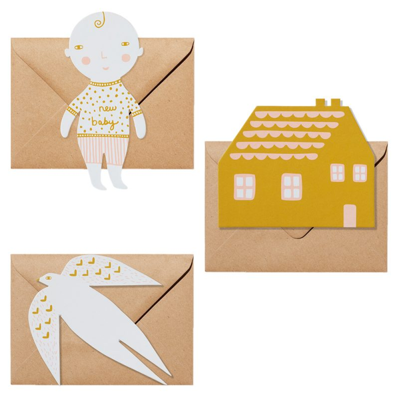 Shaped Greeting Cards - Pack of 3