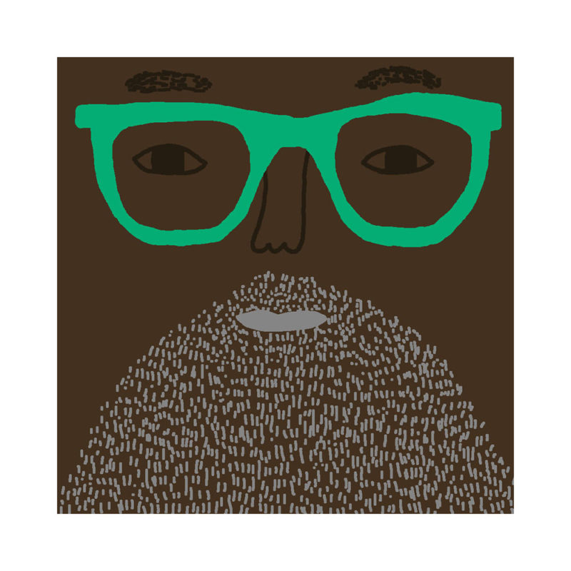 Johnny Cushion - Deep Tone, Grey Beard & Green Glasses