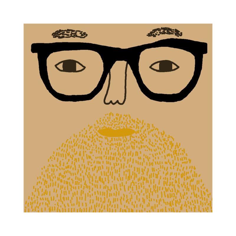 Johnny Cushion - Light Tone, Blonde Beard & Black Glasses