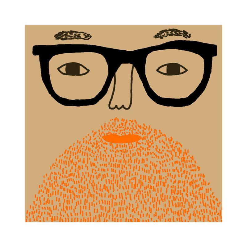 Johnny Cushion - Light Tone, Ginger Beard & Black Glasses