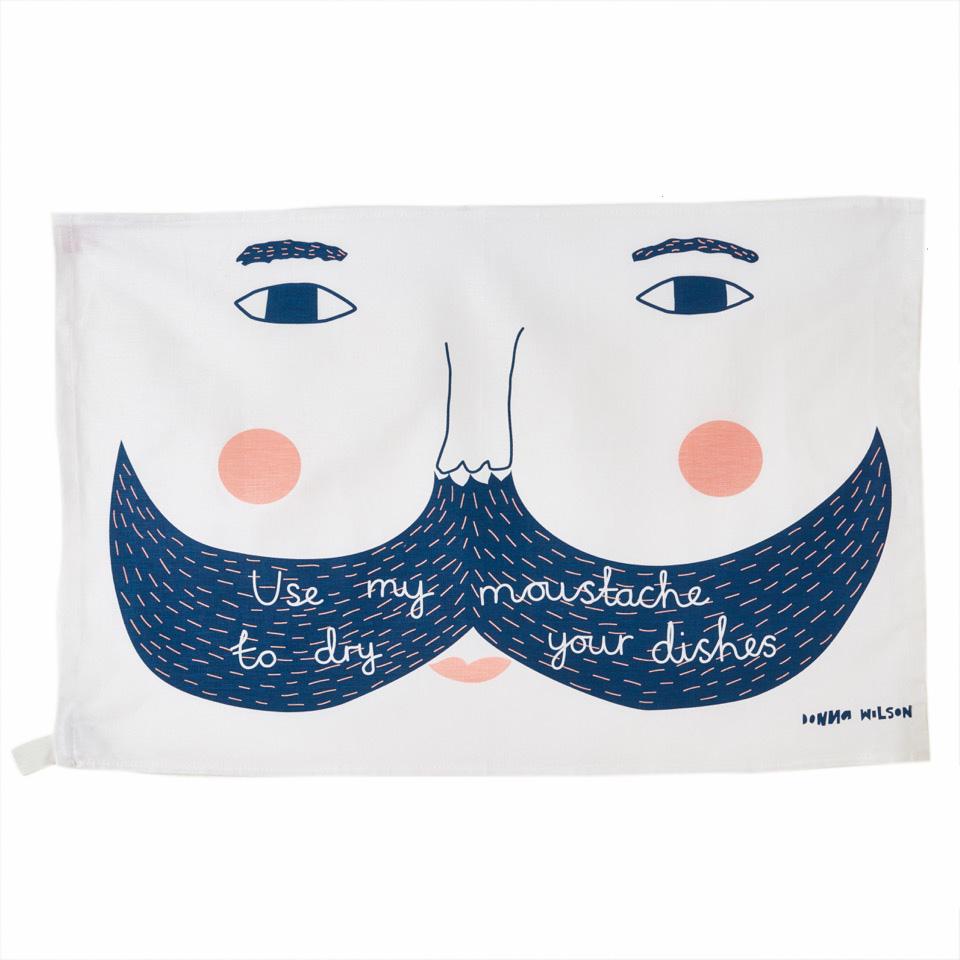use my moustache tea towel donna wilson