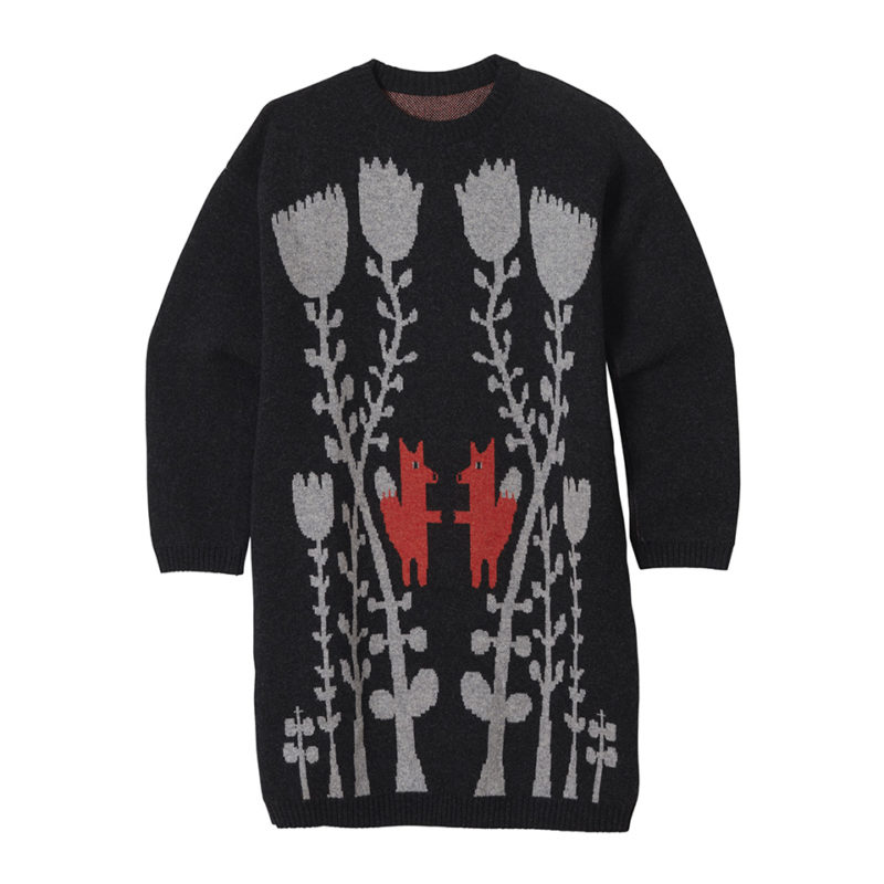 Fox in flowers long sweater charcoal Donna Wilson