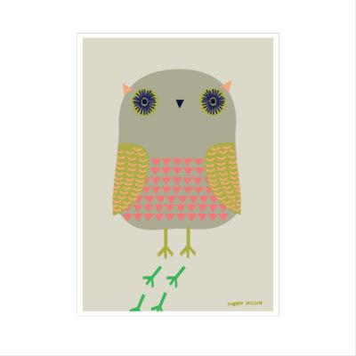 Litho Xmas Card - Owl