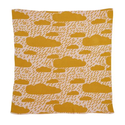 Clouds Mustard Cotton Mini Blanket Donna Wilson
