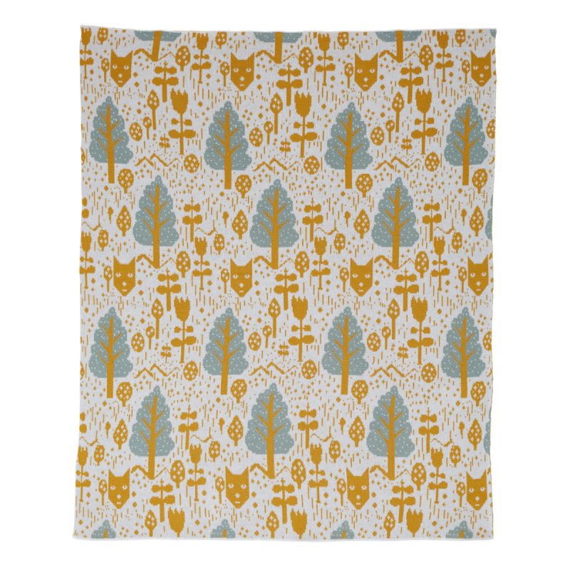 Fox In The Woods Mustard Cotton Mini Blanket