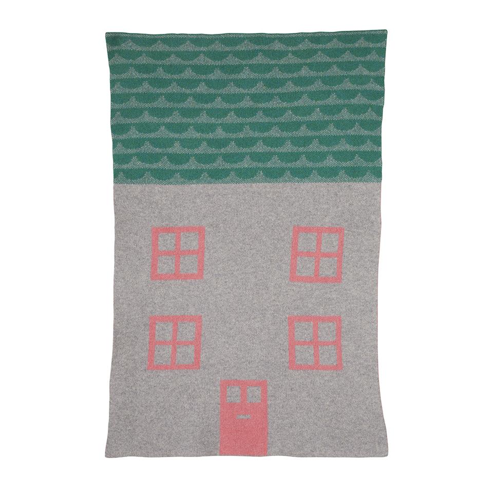 House Mini Blanket Pink Grey Donna Wilson