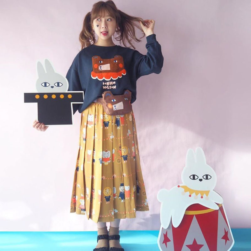 Mushroom Circus Pleat Skirt - Mustard - Donna Wilson