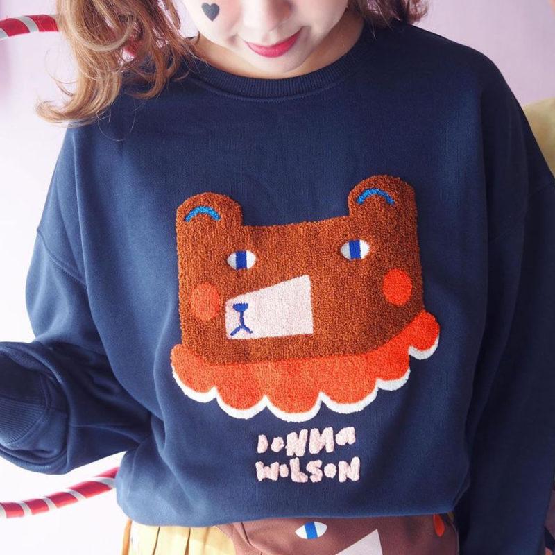 Mushroom Circus Bear Sweatshirt - Navy - Donna Wilson