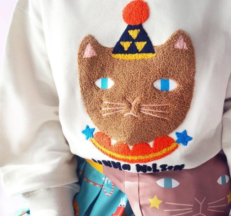 Mushroom Circus Cat Sweatshirt - Ivory - Donna Wilson