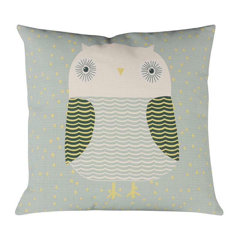 Donna Wilson Owl Cushion Duck Egg Front