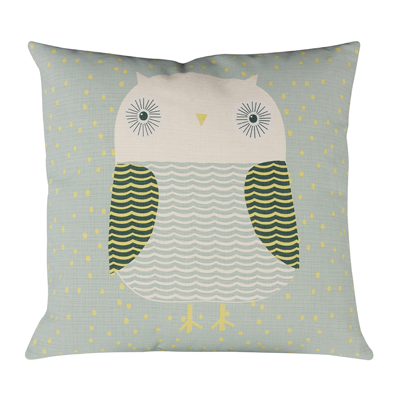 Donna Wilson Owl Cushion Duck Egg Front