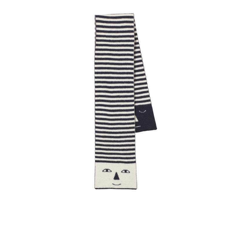 Stripy Head Scarf - Black + White - Donna Wilson