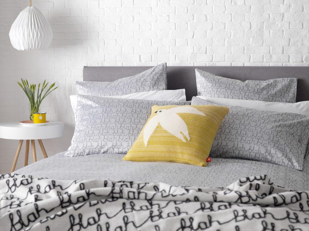 Donna Wilson Collaboration for Secret Linen Store, Blah Blah Bed Linen Banner, double duvet £75, pillowcase £15, Dove Lambswool Cushion £95