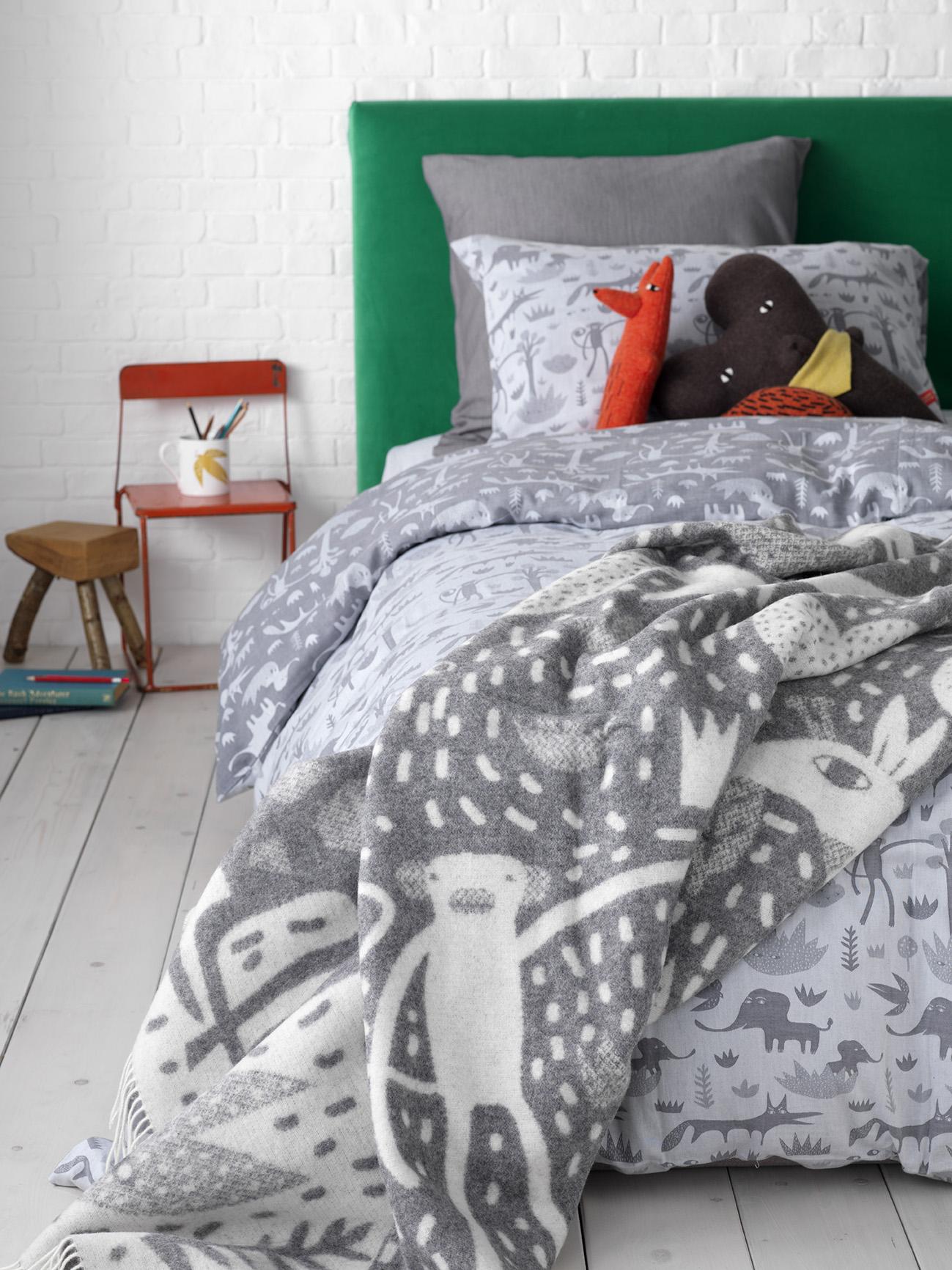 Donna Wilson Collaboration for Secret Linen Store, Menagerie Bed Linen, Throw, single duvet and pillowcase set £59