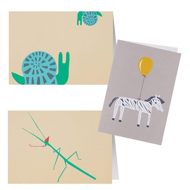 Animal Greeting Cards - Set of 3