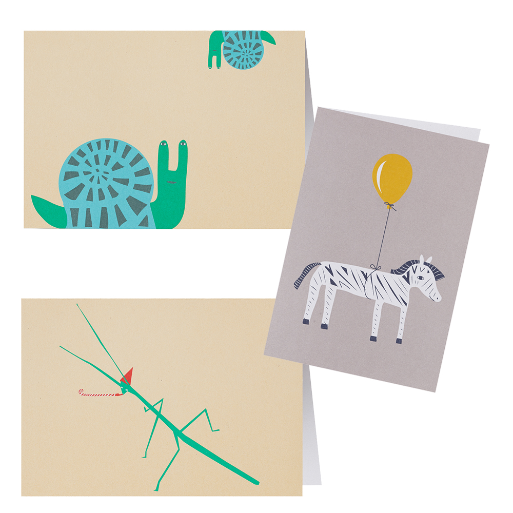 Animal Greeting Cards Pack Of 3 Donna Wilson