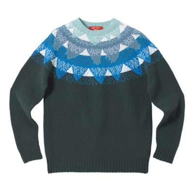 Mountain Peak Yoke Sweater - Blue - Donna Wilson