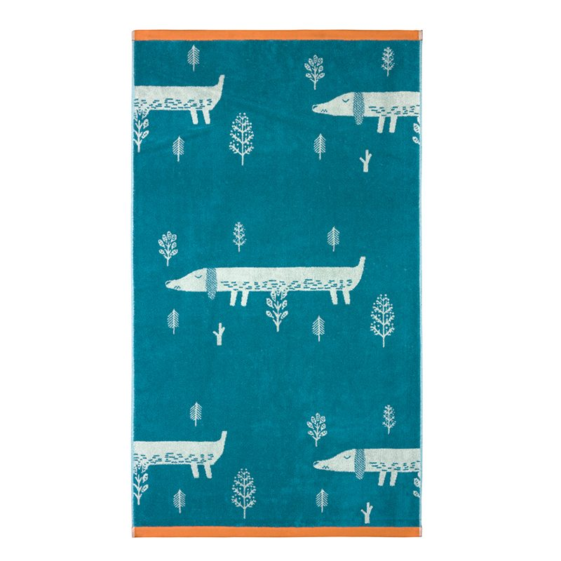 Donna Wilson - Sausage Dog Bath Towel - Blue