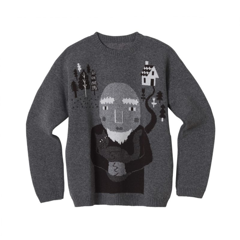 Donna Wilson - Wise Cat Man Sweater - Grey