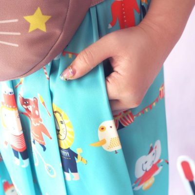 Mushroom Circus Pleat Skirt - Blue - Donna Wilson