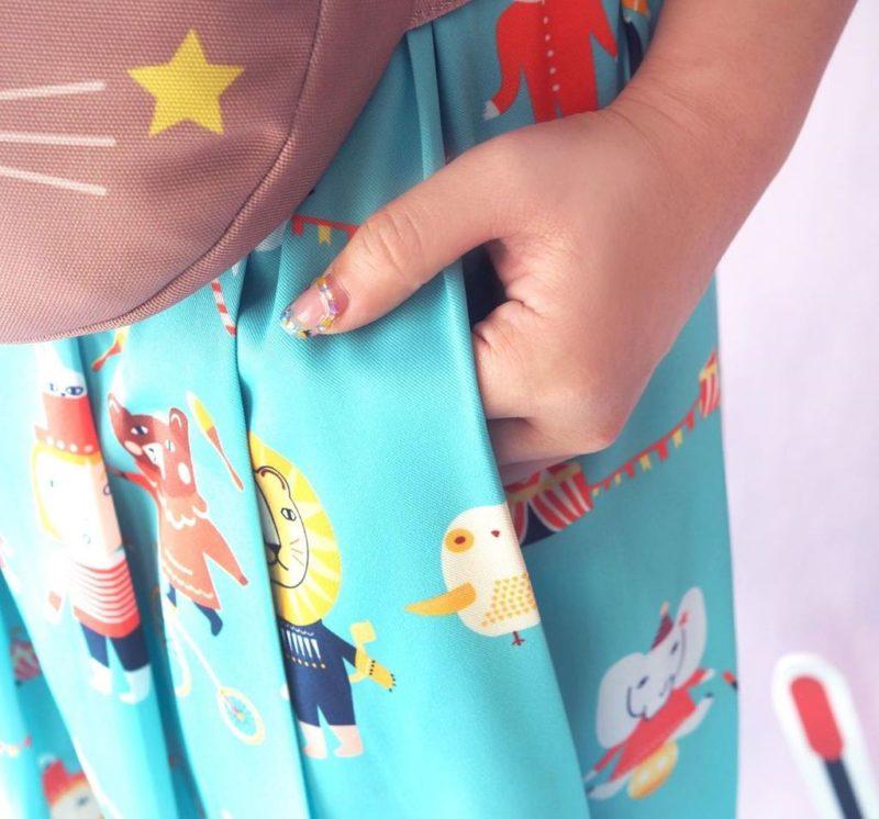Mushroom Circus Pleat Skirt - Blue - Donna Wilson