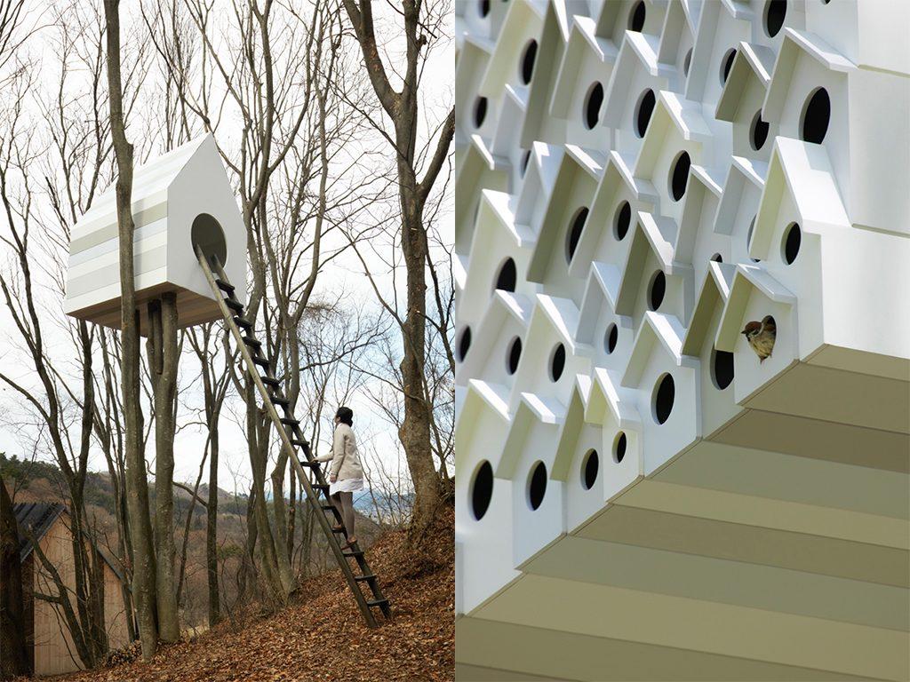 tree house nendo bird apartment