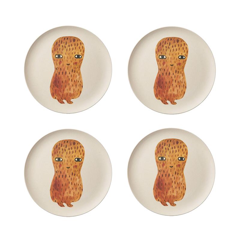 Peanut Bamboo Plates - Set of 4 - Donna Wilson