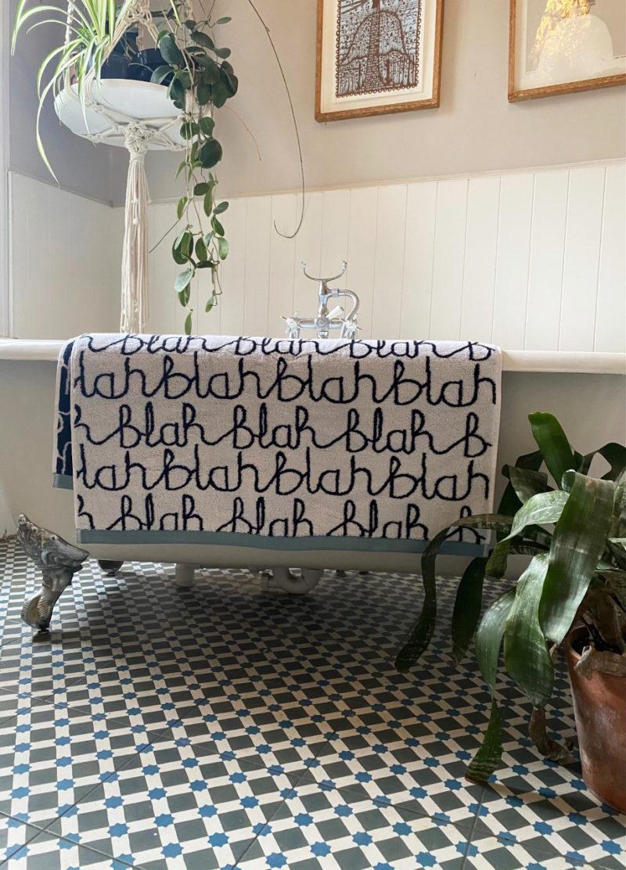 Blah Blah Towels - Light Blue - Donna Wilson