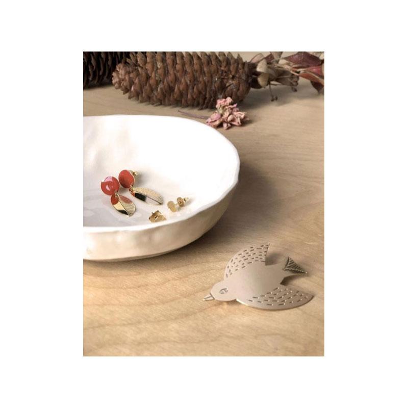 Titlee x DonnaWilson - Leaf Earrings + Bird Brooch